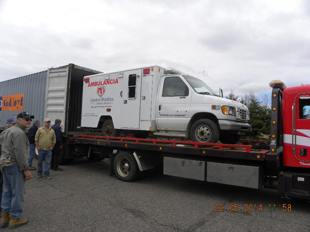 Ambulance being shipped to Shalom Clinic