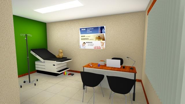 We do have an exam table, desk,chairs and laptop plus diagnostic equipment but not as fancy as the artist's conception!